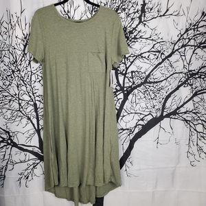 LuLaRoe Carly Dress Olive Green High Low Medium